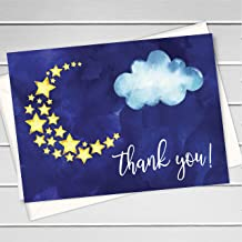 12ct, Galaxy Themed Baby Shower Thank you Cards, Moon And Star (TY-009-H)