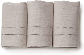 Solino Home Pure Linen Hand Towels - Set of 3, 14 x 24 Inch - 100% Natural Fabric, Handcrafted from European Flax - Light Natural
