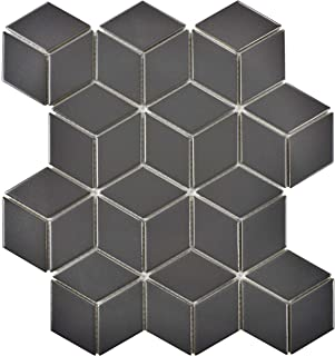 SomerTile FMTRHOMG Retro Rhombus Porcelain Mosaic Floor and Wall Tile, 10.5