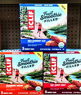 Clif FRUIT SMOOTHIE FILLED Bars Variety 3-Pack! NEW for 2018! 1 Box each of STRAWBERRY BANANA, WILD BLUEBERRY ACAI, TART CHERRY BERRY. Each box contains 5 bars. Total of 15.