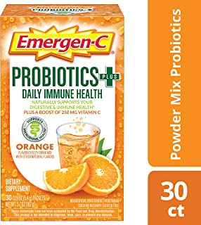 Emergen-C Probiotics+ (30 Count, Orange Flavor) Daily Immune Health Dietary Supplement Drink Mix Plus a Boost of 250mg Vitamin C, 0.19 Ounce Packets