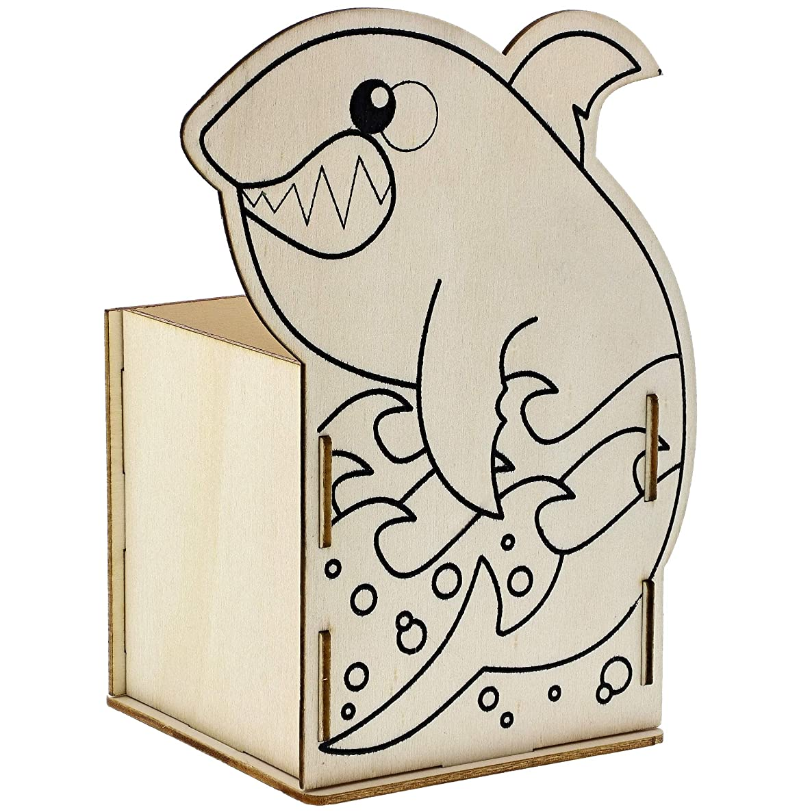 Bright Creations 8-Pack DIY Unfinished Wood Shark Box Kit for Painting and Crafts, 3.5 x 5 Inches