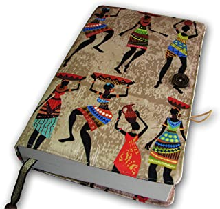 Glittering Bazaar Fabric Novel Book Sleeve Cover, Case for Paperback Story Books, Pattern African Women's, 7 x 11 Planner Protector