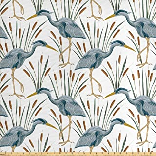 Lunarable Swamp Fabric by The Yard, Blue Grey Heron Birds and Bulrush Water Foliage Growth Wilderness Tropical Lands, Decorative Fabric for Upholstery and Home Accents, 1 Yard, Blue Amber