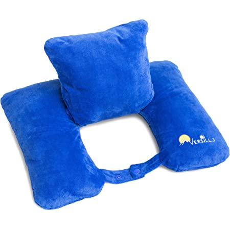 VERSILLO Travel Pillow. The Pillow For Everything. More Than Just a Neck Pillow. Neck, Lumbar, Back Support. The Pillow That Solves All Your Travel Needs For Cars, RV, Train, Camping, Airplanes, Home.