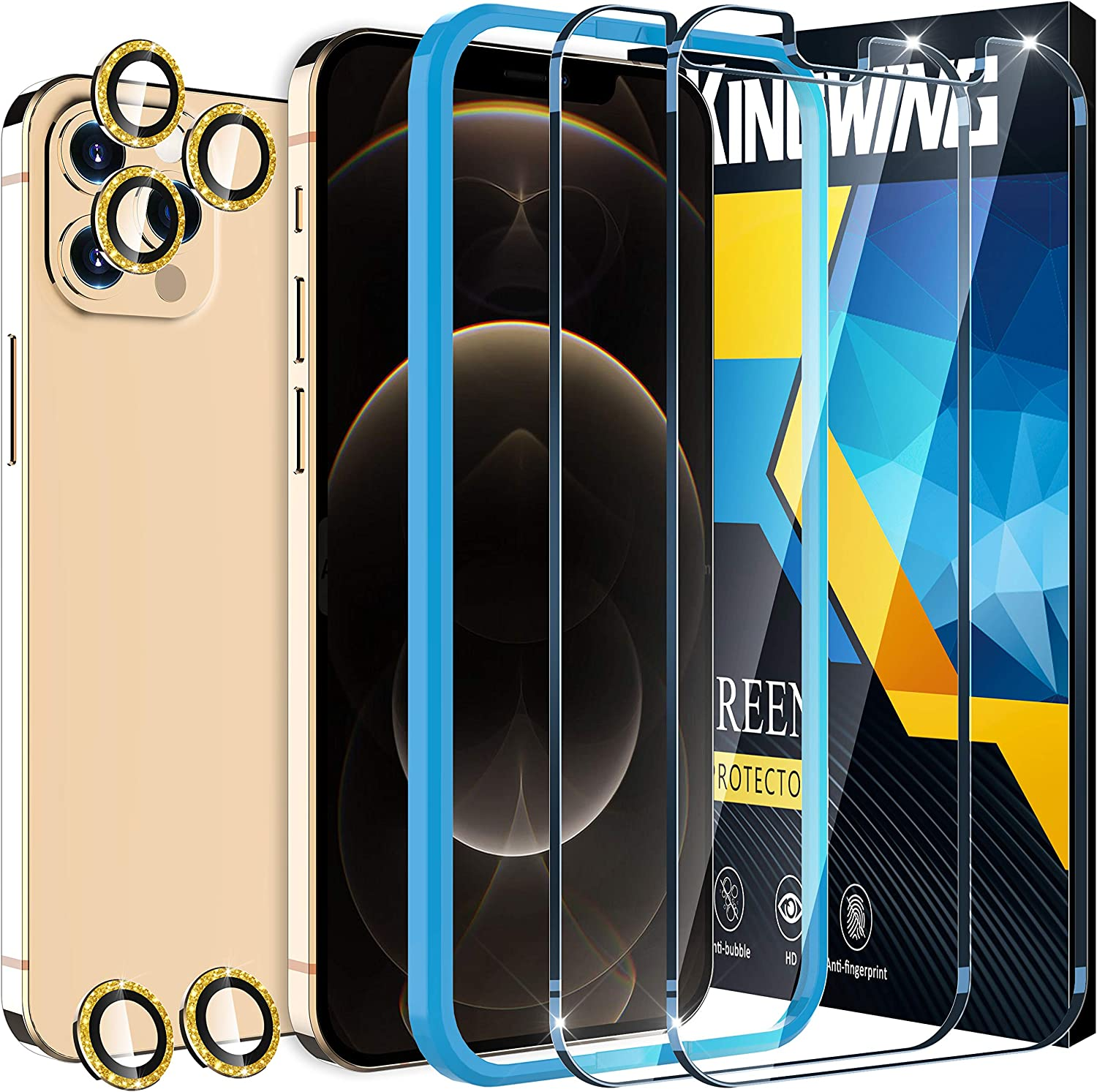 [2+5 Pack ] KINGWING Screen Protector Compatible with iPhone 12 Pro Max 5G (6.7 inch), 2 Pack Tempered Glass + 5 Pack DiamondGold Camera Lens Protector [Installation Frame] [U-Shaped Cutout]