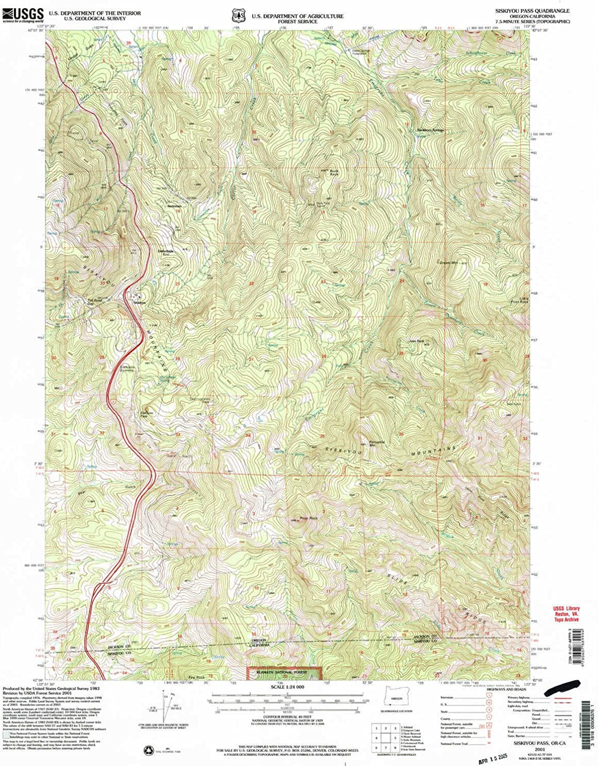 Siskiyou Pass OR topo map, 1 24000 Scale, 7.5 X 7.5 Minute, Historical, 2001, Updated 2004, 26.9 x 21.9 in