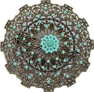 Brosche Herz Weben von Perlen japanischen grünen Türkis Durchmesser 5,5 cm personalisierte Geschenk Weihnacht Fest der Mütter Mütter Geburtstag Hochzeit Gast Herrin