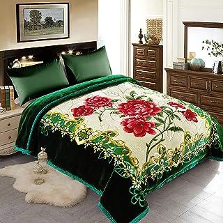 "JML Fleece Blanket, Plush Blanket King Size 85"" x 93"", 10 Pounds Heavy Korean Style Mink Blanket - Silky Soft and Warm, 2 Ply A&B Printed Raschel Bed Blanket, Flowers"