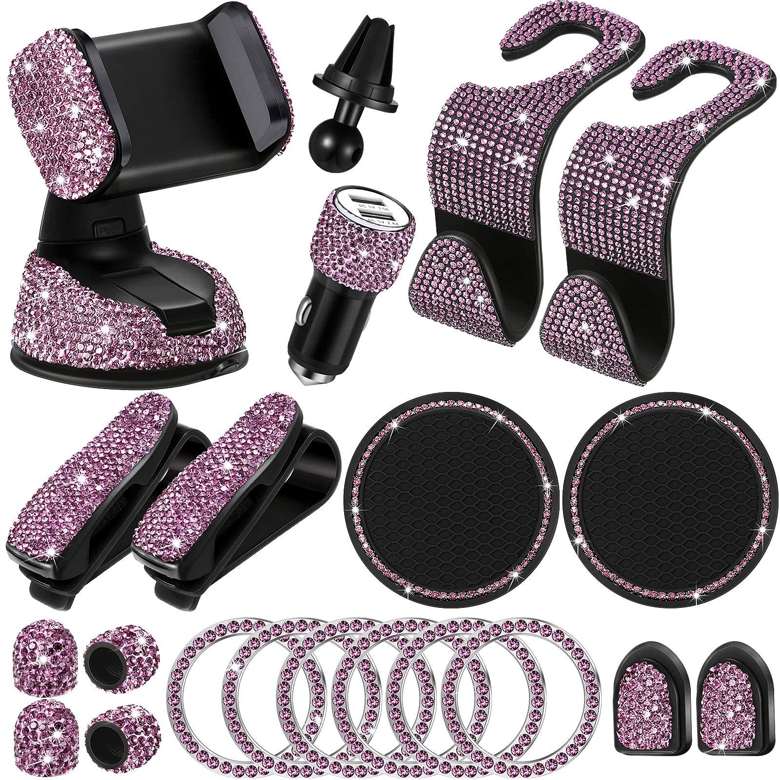 20 Pieces Bling Car Accessories Set Bling Car Phone Holder Mount, Bling Car Headrest Collars Rings, Bling Auto Hooks, Bling Dual USB Car Charger, Bling Glasses Holder for Women (Purple)
