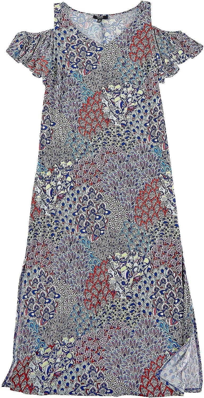 MSK Plus Floral Print Cold Shoulder Flutter Sleeve Dress 1X Blue