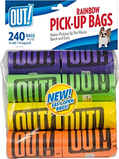 OUT! Rainbow Colored Dog Poop Bags, 9 x 12 inches