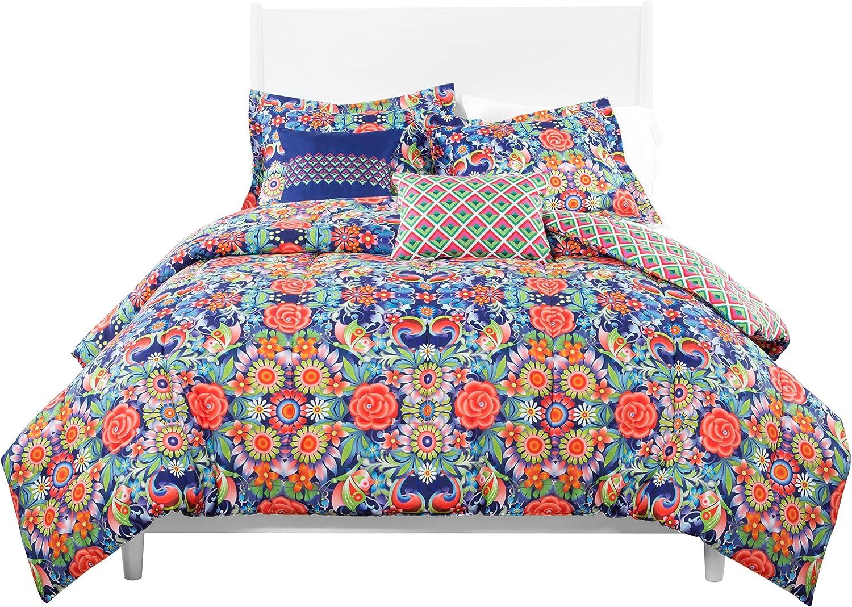 Catalina Estrada 4 Piece pinkl blue Comforter Set Twin Navy Red