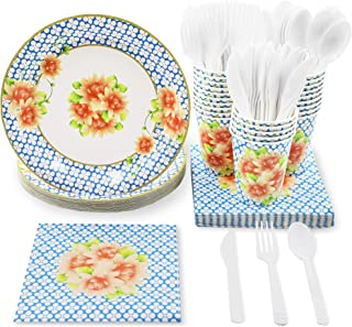 Blue Panda Vintage Floral Party Supplies for Birthdays, Brunch, Weddings - Plates, Knives, Spoons, Forks, Napkins, and Cups, Serves 24