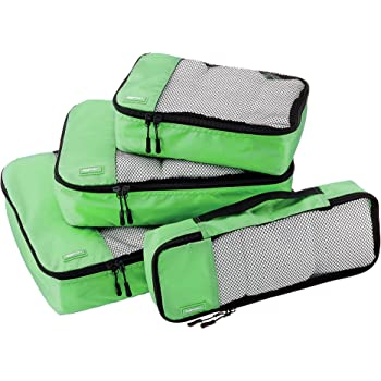 AmazonBasics 4 Piece Packing Travel Organizer Cubes Set, Green