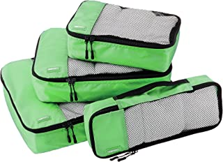 AmazonBasics 4-Piece Packing Cube Set - Small, Medium, Large, and Slim, Green