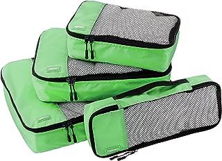 AmazonBasics 4 Piece Packing Travel Organizer Cubes Set - Green