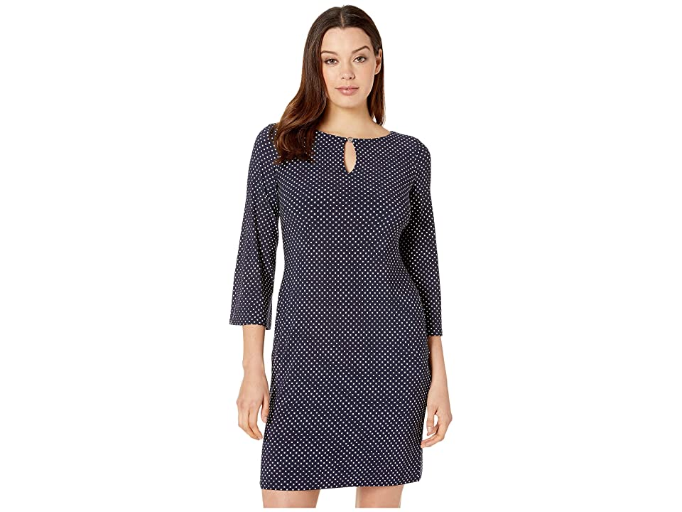 LAUREN Ralph Lauren Monahan Darby Dot Dress (Lighthouse Navy/Colonial Cream) Women