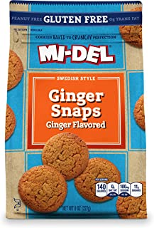 Mi-Del Gluten Free Cookies, Ginger Flavored Snaps, 8 Ounce