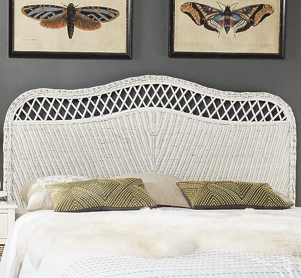 Safavieh 家居系列 Sephina 白色藤条床头板皇后