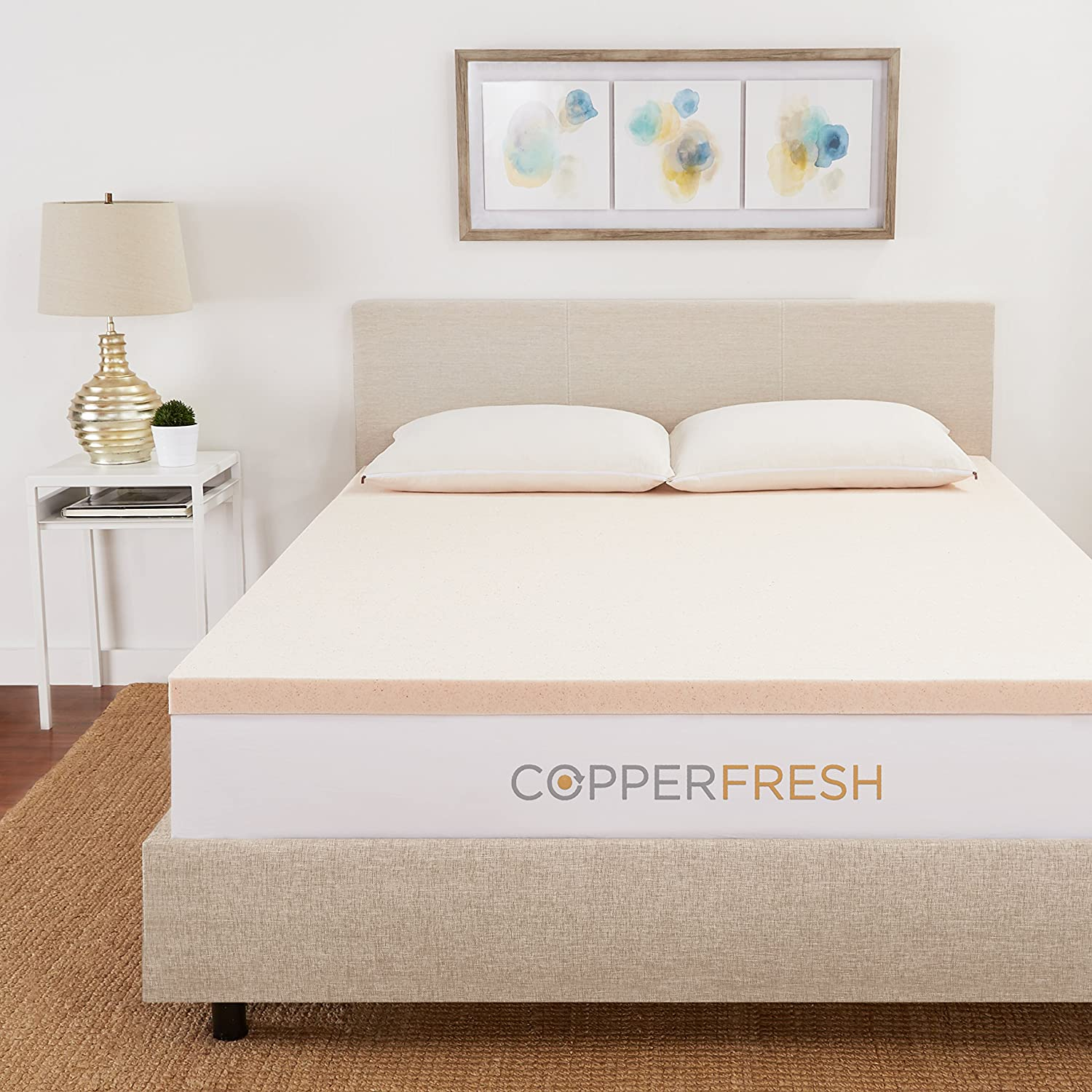 CopperFresh Gel Memory Foam Mattress Topper by Sleep Studio, Naturally Antimicrobial and Cool, Made in The USA - 2-Inches, Queen Size