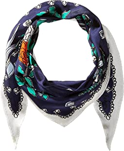 Coastal Floral Silk Diamond Scarf