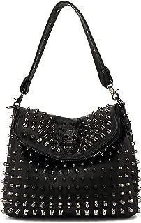 Large Studded Skull Shoulder Bag for Women, Vegan Leather Punk Rock Rivet Crossbody Bag, H1417
