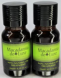 Macadamia Deluxe Oil Pure & Natural Healing Treatment for Hair and Skin Travel Size 2 pack Each Bottle .33 oz(10ml)