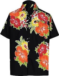 LA LEELA Men's Regular Fit Funky Hawaiian Shirt Short Sleeve Printed Beach Shirt