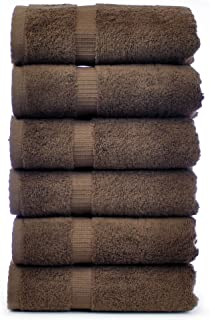 Chakir Turkish Linens Turkish Cotton Luxury Hotel & Spa Bath Towel, Hand Towel - Set of 6, Cocoa