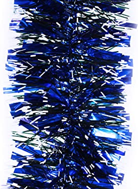 """6 Pcs Blue Christmas Tree Tinsel Garland Hanging Classic Thick Sparkly Shiny Foil Party Ornaments Garland 6.6' L X 4.3"""" W for Hanukah Vintage Xmas Wreath Ceiling Outdoor Float Decorations"""