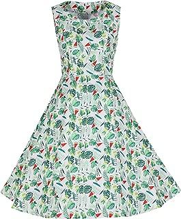 Wellwits Women's Tropical Palm Watermelon Summer Vintage Swimg Party Dress