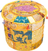 Stylo Culture Decorative Pouf Cover Round Indian Patchwork Embroidered Pouffe Ottoman Cover Yellow Cotton Floral Tradition...