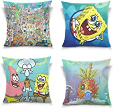 Spongebob Throw Pillow Covers Set of 4 Decorative Pillowcases Double-Sided Printing Soft Pillow Cases for Living Room Sofa Couch Bed 18 x 18 Inch 45 x 45 cm