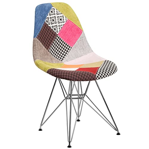 Flash Furniture Elon Series Milan Patchwork Fabric Chair With Chrome Base