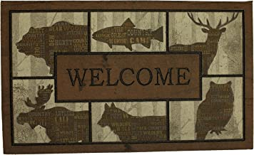 Mohawk Home Doorscapes Woodlandwords Blocks All All Weather Rubber Durable Non Slip Entry Way Indoor/Outdoor Welcome Door Mat, 18 x 30 Inch, Woodland Words