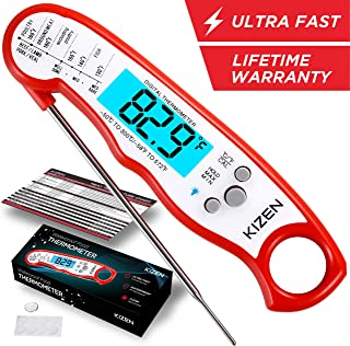 Kizen Instant Read Meat Thermometer – Best Waterproof Ultra Fast Thermometer with..