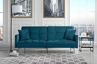 DIVANO ROMA FURNITURE Modern Plush Tufted Velvet Splitback Living Room Futon (Sky Blue)