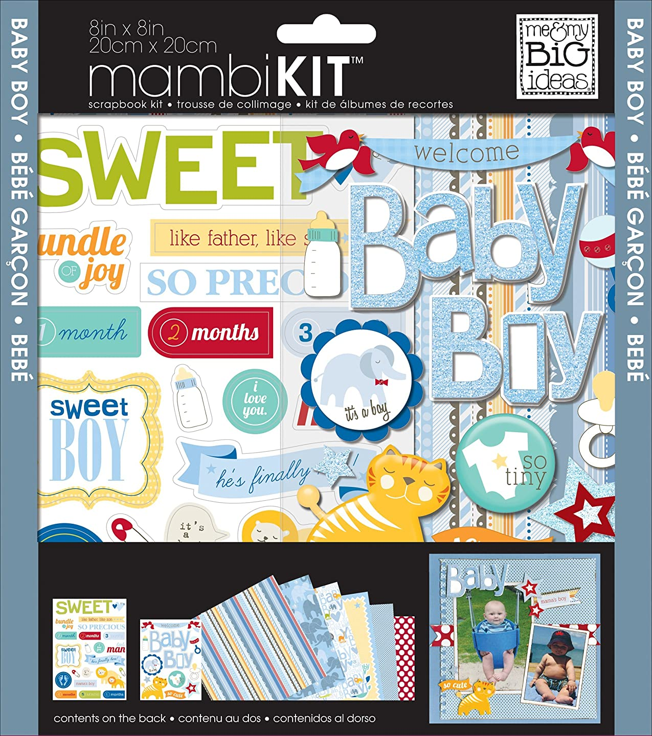 me & my BIG ideas mambiKIT Scrapbook Page Kit, Baby Boy, 8-Inch by 8-Inch