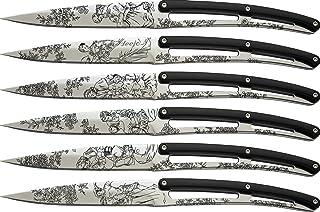 deejo Set de 6 de Table Tattoo/Miroir/ABS Noir/Toile de Jouy | Ensemble de 6 Couteaux de Table «Bistrot» – Lame Fixe Micro...