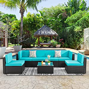 Shintenchi Wicker Rattan Outdoor Patio All Weather Furniture w/Removable Cushions - 7 Pieces Set: Sofa Set & Tea Table [Blue]