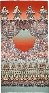 Women's Indian Print Wool & Silk Blend Scarf Multi Coloured