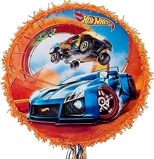 Ya Otta Pinata Pull String Orange Hot Wheels Pinata, Birthday Party, 2lb Filler Capacity, 17 1/2 dia x 3 1/2 Inches