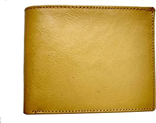 Furnish Wood Designer Leather Yellow Wallet For Men