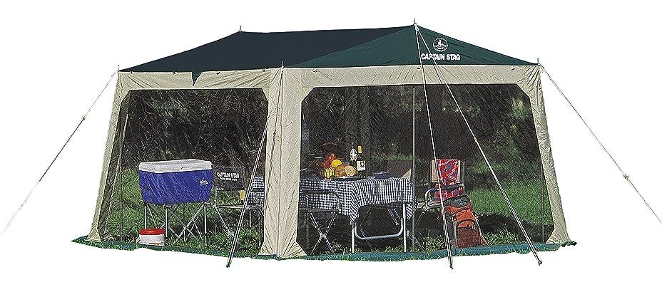 下向き険しい締めるキャプテンスタッグ(CAPTAIN STAG) キャンプ用品 テント タープ プレーナメッシュ タープ セット 虫よけM-3154