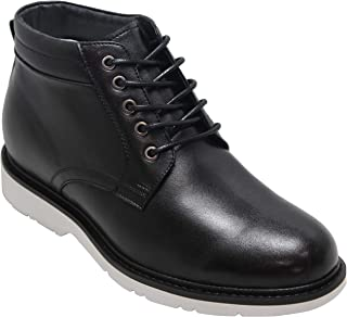 CALTO Men's Invisible Height Increasing Elevator Shoes - Black Leather Lace-up Mid-top Casual Boots - 3.2 Inches Taller - Y41092