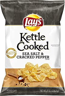 Lay's Kettle Cooked Sea Salt & Cracked Pepper Flavored Potato Chips, 8 Ounce