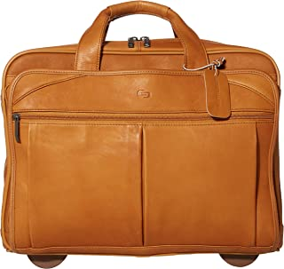 Solo Walker Rolling Laptop Bag with Wheels - Fits Up To 15.6-Inch Laptop – Rolling Leather Laptop Case for Men and Women. Premium Leather Rolling Bag – Tan