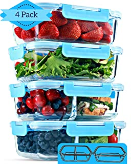 1 & 2 Compartment Glass Meal Prep Containers [4 Pack, 35 Ounces] - Glass Lunch Containers, Glass Food Storage Containers with Lids, Food Prep Containers, Bento Boxes for Adults, Lunch Box, Airtight
