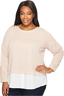 Calvin Klein Plus - Plus Size Textured Twofer Top with Buttons